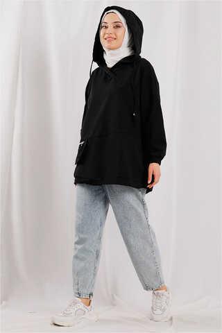 Zulays - Kapüşonlu Cep Detaylı Sweatshirt Siyah