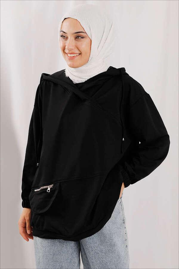 Kapüşonlu Cep Detaylı Sweatshirt Siyah