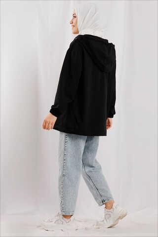 Kapüşonlu Cep Detaylı Sweatshirt Siyah - Thumbnail