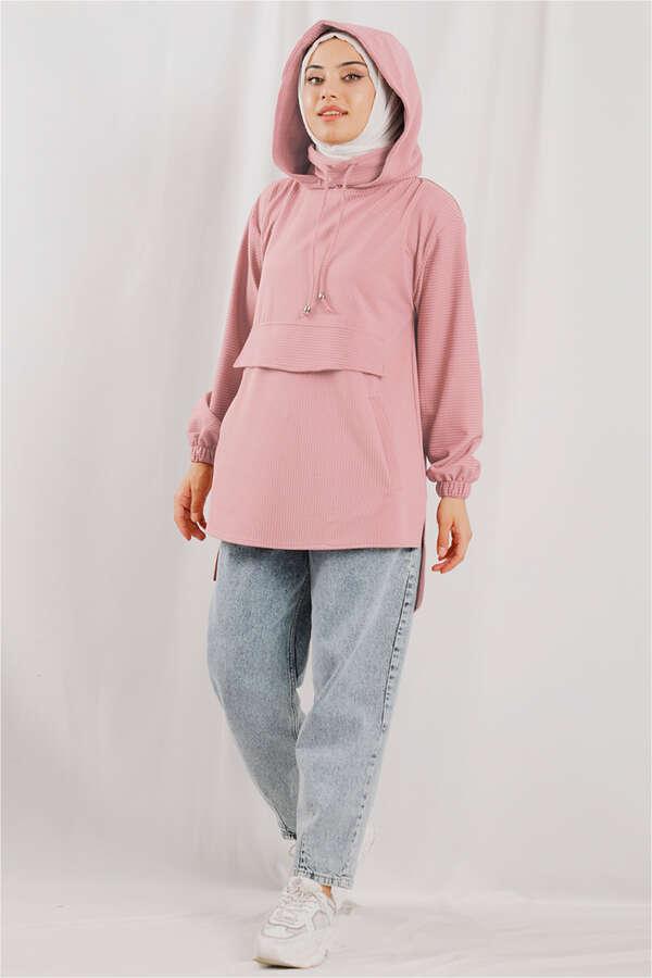 Kapüşonlu Cepli Sweatshirt Pudra