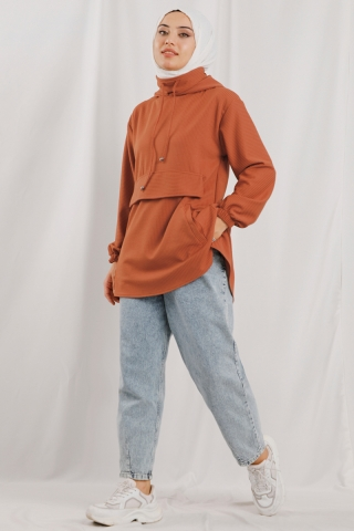 Zulays - Kapüşonlu Cepli Sweatshirt Şeftali
