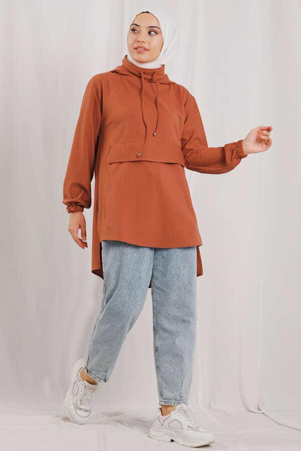 Kapüşonlu Cepli Sweatshirt Şeftali