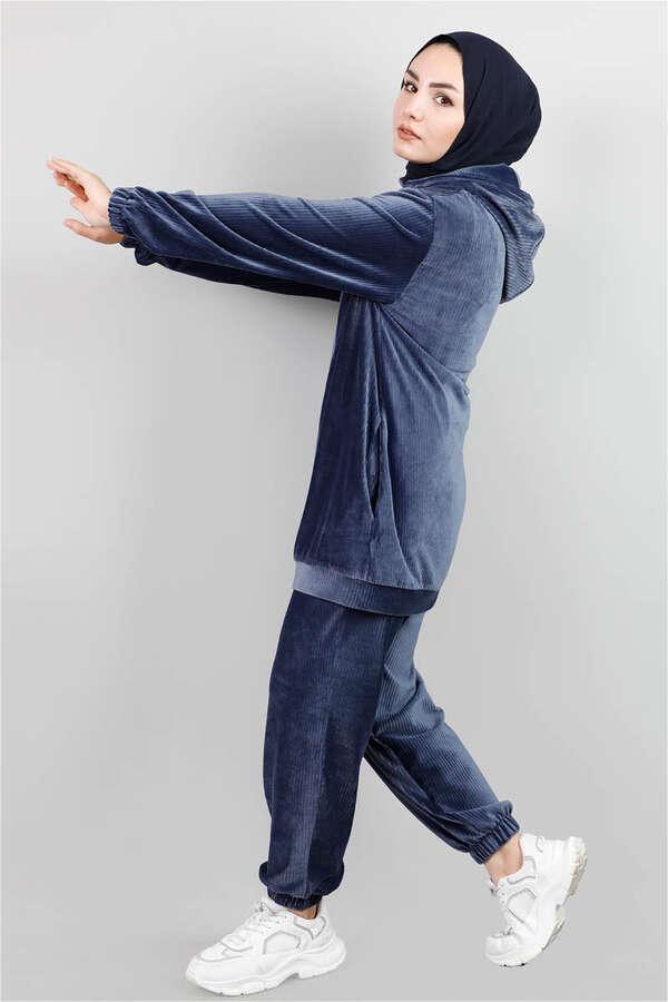 Kapüşonlu Kadife Takım Mavi