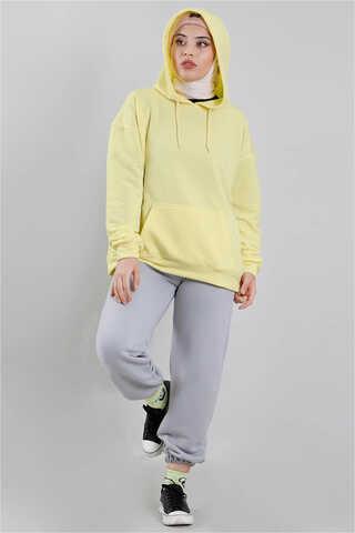 FISRT ANGELS - Kapüşonlu Oversize Sweat Limon Sarısı