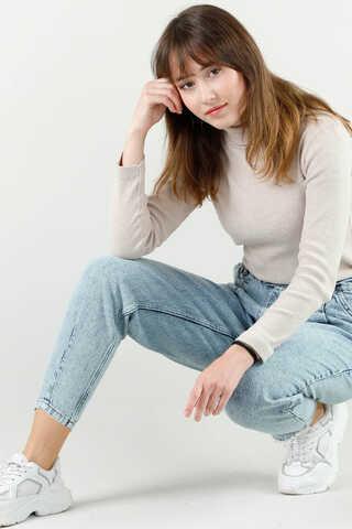 Kar Yıkama Mavi Kot Pantolon - Thumbnail