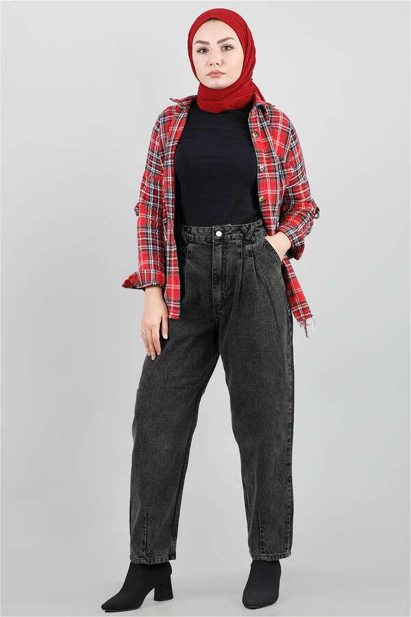 Kar Yıkama Siyah Kot Pantolon