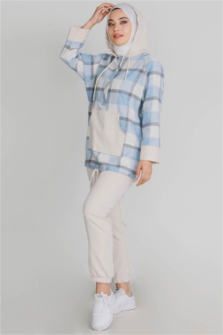 Modesty - Kareli Tunik Takım Mavi