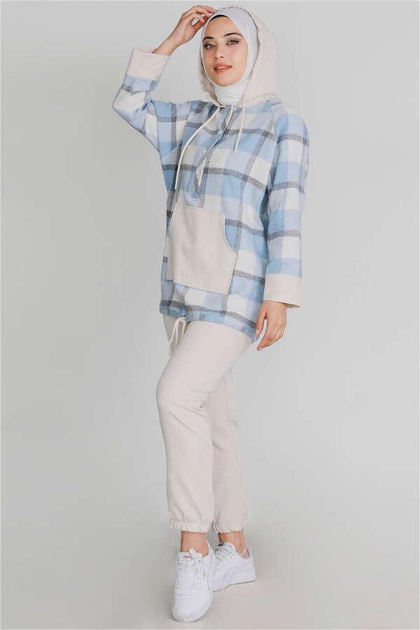 Kareli Tunik Takım Mavi