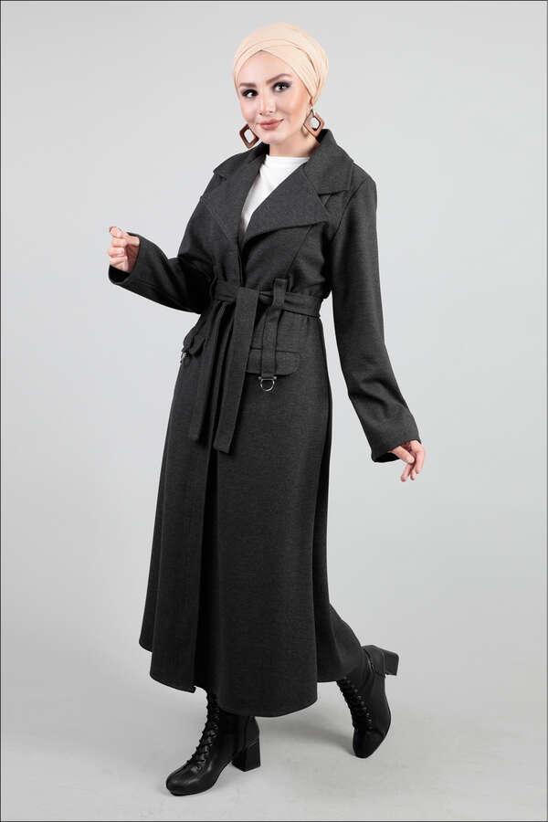Ceket Yaka Gri Kaban