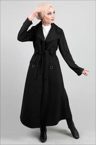 Zulays - Ceket Yaka Siyah Kaban