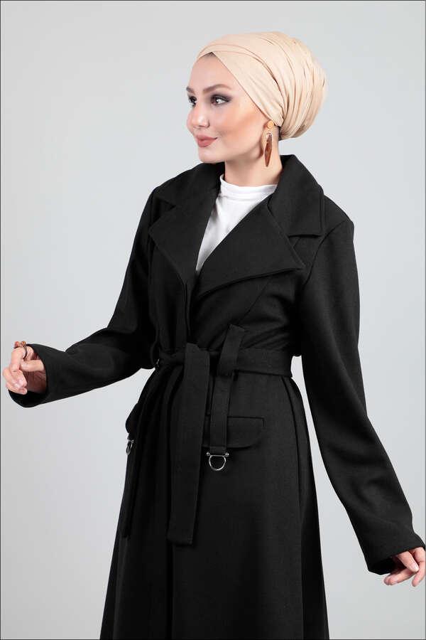 Ceket Yaka Siyah Kaban