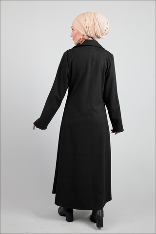 Ceket Yaka Siyah Kaban - Thumbnail