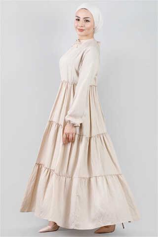 - Kat Kat Büzgülü Elbise Bej