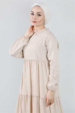 Kat Kat Büzgülü Elbise Bej - Thumbnail