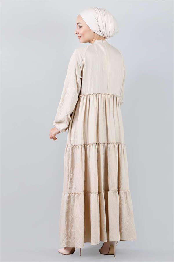 Kat Kat Büzgülü Elbise Bej