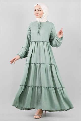 - Kat Kat Büzgülü Elbise Çağla Yeşili