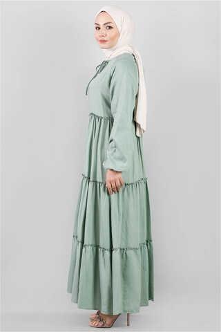 Kat Kat Büzgülü Elbise Çağla Yeşili - Thumbnail