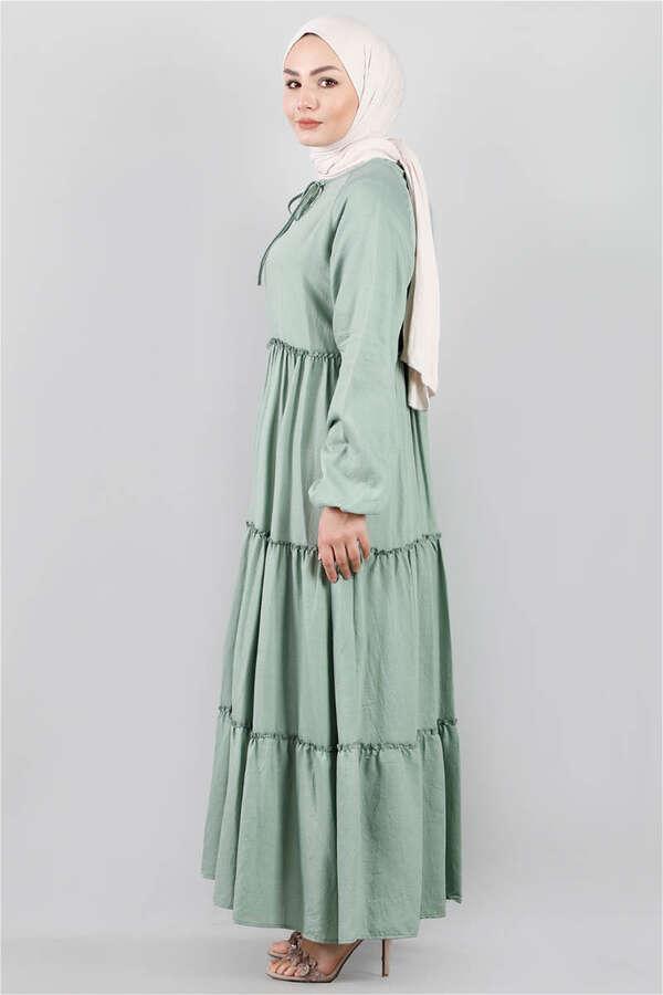 Kat Kat Büzgülü Elbise Çağla Yeşili