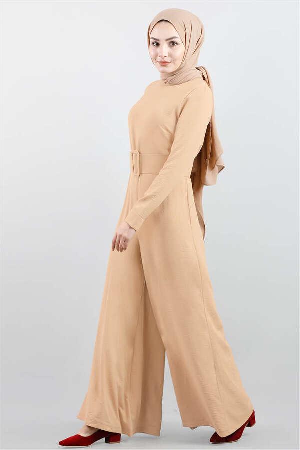 Kemerli Düz Tulum Camel