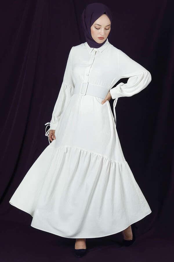 Kemerli Kol Detaylı Elbise Beyaz