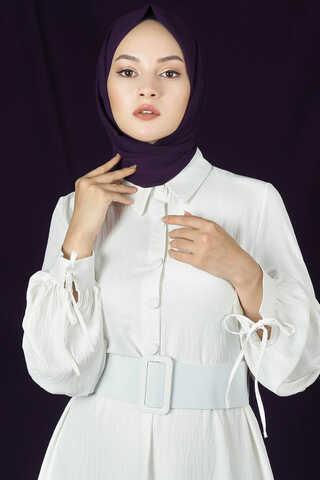 Kemerli Kol Detaylı Elbise Beyaz - Thumbnail