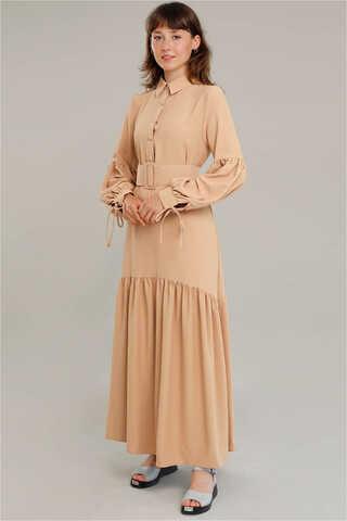 Zulays - Kemerli Kol Detaylı Elbise Camel