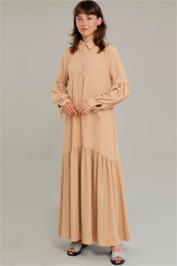 Kemerli Kol Detaylı Elbise Camel