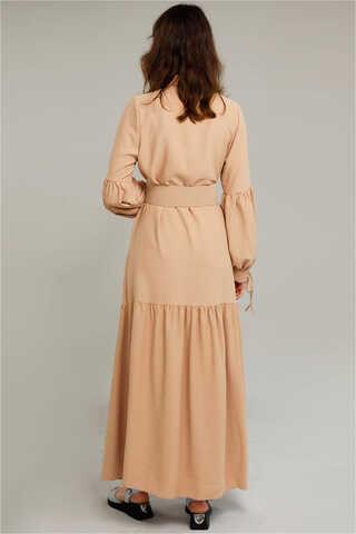 Kemerli Kol Detaylı Elbise Camel - Thumbnail