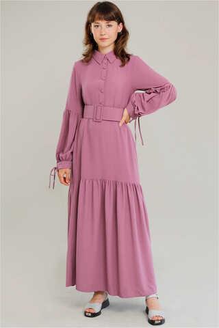 Zulays - Kemerli Kol Detaylı Elbise Gül Kurusu