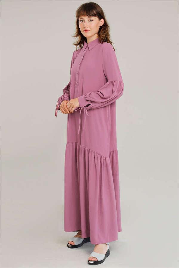 Kemerli Kol Detaylı Elbise Gül Kurusu