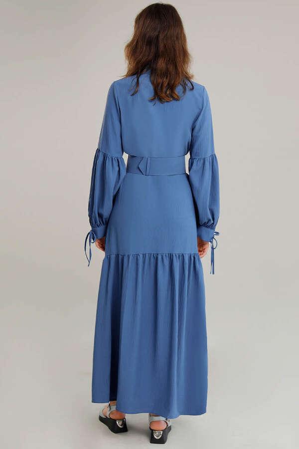 Kemerli Kol Detaylı Elbise İndigo