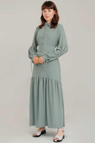 Kemerli Kol Detaylı Elbise Mint - Thumbnail