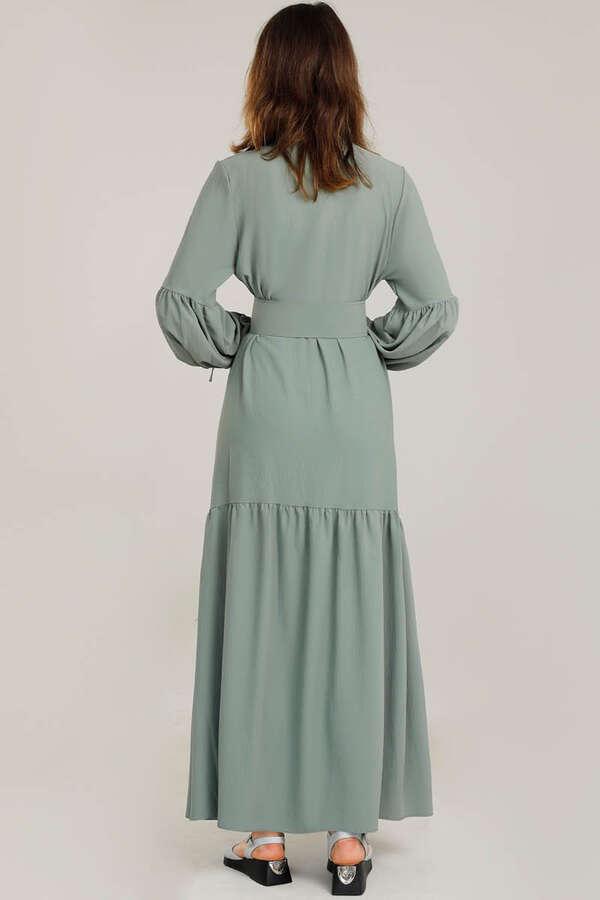 Kemerli Kol Detaylı Elbise Mint