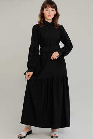 Zulays - Kemerli Kol Detaylı Elbise Siyah