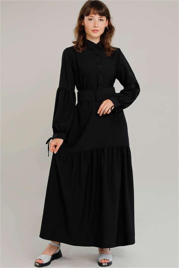 Kemerli Kol Detaylı Elbise Siyah