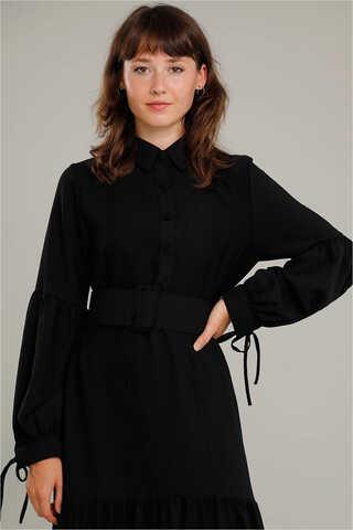 Kemerli Kol Detaylı Elbise Siyah - Thumbnail