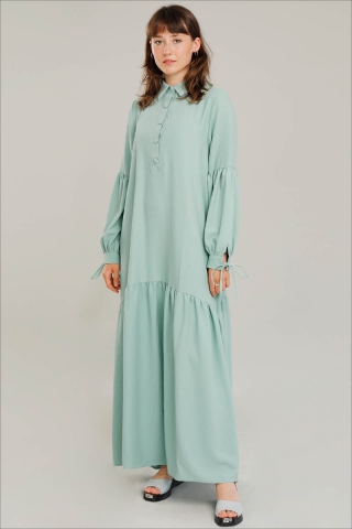 Zulays - Kemerli Kol Detaylı Elbise Su Yeşili