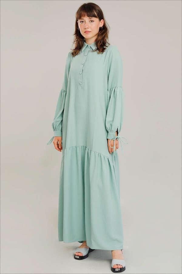 Kemerli Kol Detaylı Elbise Su Yeşili