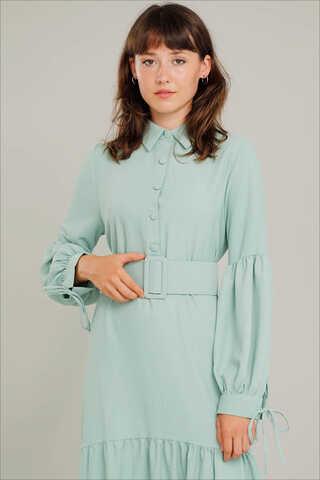 Kemerli Kol Detaylı Elbise Su Yeşili - Thumbnail