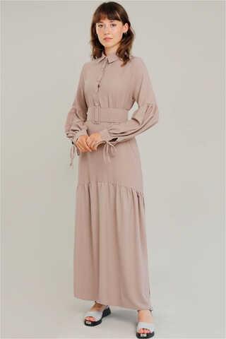 Zulays - Kemerli Kol Detaylı Elbise Vizon