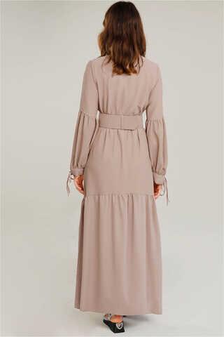 Kemerli Kol Detaylı Elbise Vizon - Thumbnail