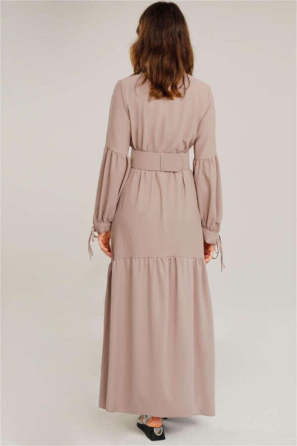 Kemerli Kol Detaylı Elbise Vizon