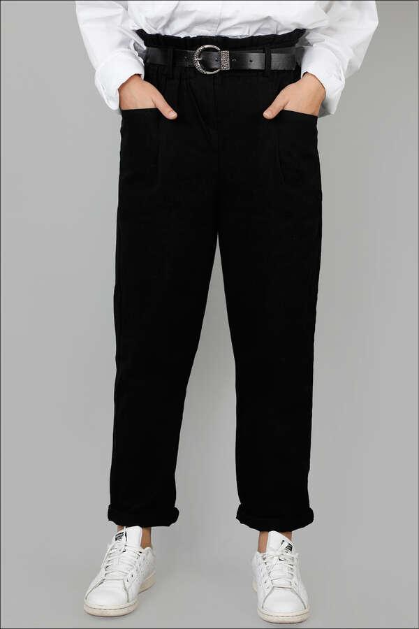 Kemerli Pantolon Siyah