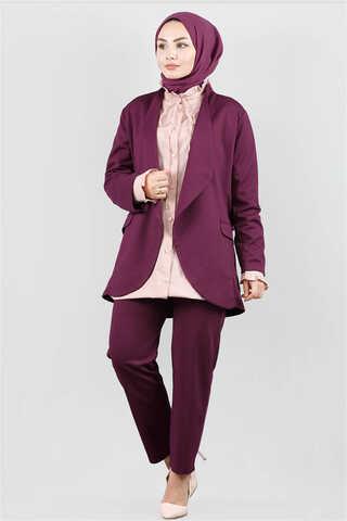 Zulays - Klasik Pantolonlu Ceket Takım Mürdüm