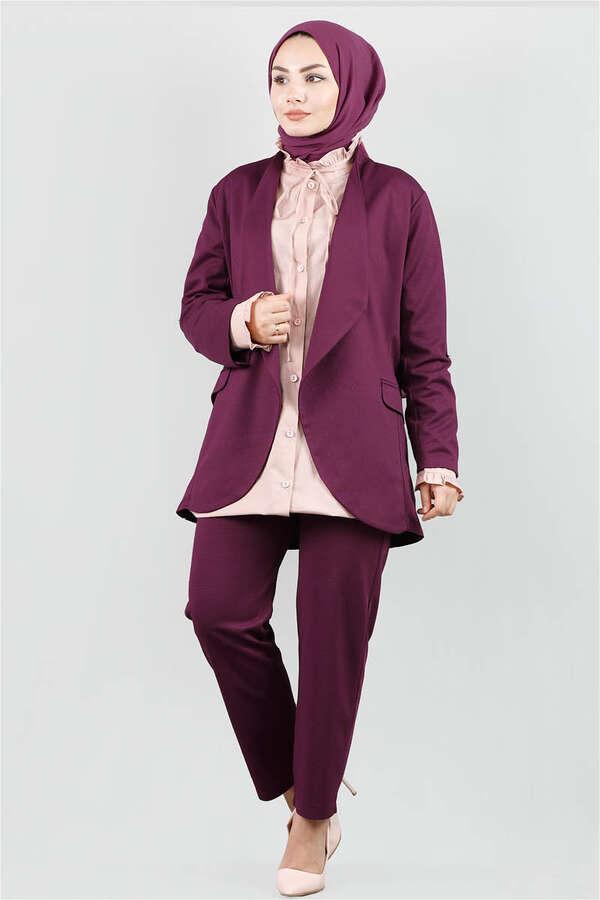 Klasik Pantolonlu Ceket Takım Mürdüm