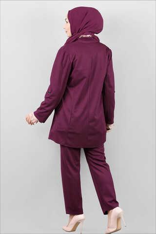 Klasik Pantolonlu Ceket Takım Mürdüm - Thumbnail