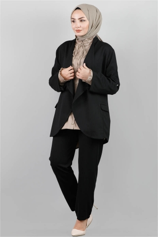 Klasik Pantolonlu Ceket Takım Siyah - Thumbnail