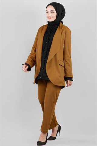 Zulays - Klasik Pantolonlu Ceket Takım Taba