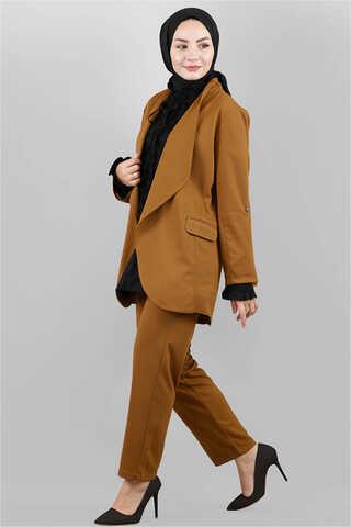 Klasik Pantolonlu Ceket Takım Taba - Thumbnail