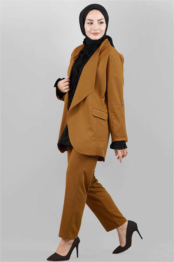 Klasik Pantolonlu Ceket Takım Taba